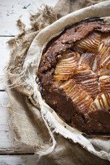rustic whole homemade pears and dark chocolate tart