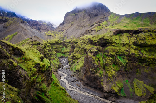 Wall mural Landscape view of Thorsmork mountains canyon and river, Iceland