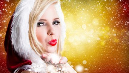 attractive miss santa with twinkling stars