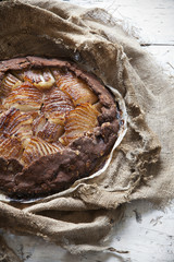 rustic homemade pears and dark chocolate tart