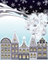 Happy Merry Christmas and New Year card, winter city