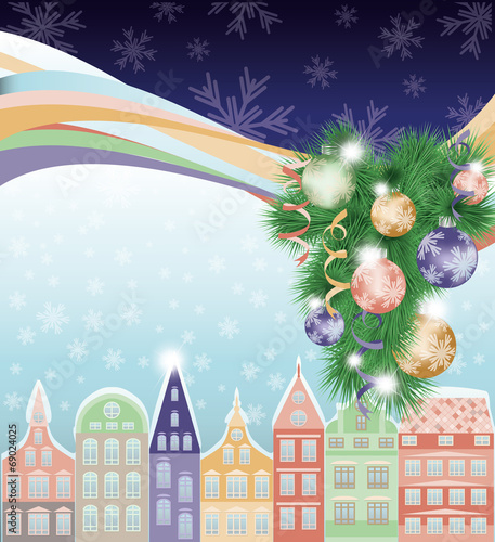 happy merry christmas and new year background winter city