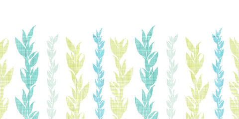Blue green seaweed vines horizontal seamless pattern background