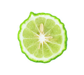 Kaffir lime slice on white background