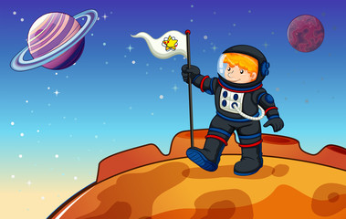 A man in the outerspace with a banner