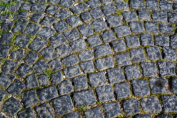 Granite cubes in the town street