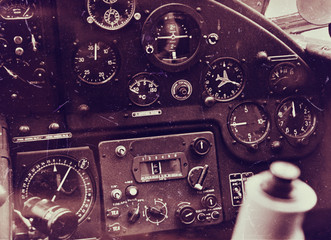 Vintage aircraft cockpit detail