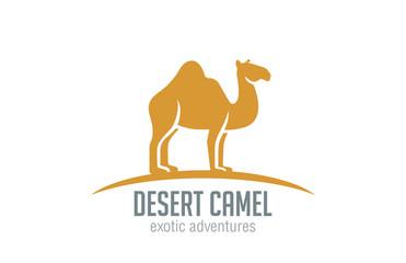 Camel Logo vector design silhouette. Desert Travel logotype