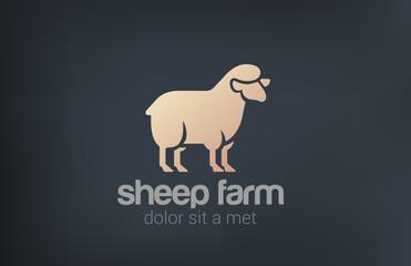 Sheep Logo vector design silhouette icon. Farm Logotype