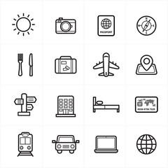 Flat Line Icons For Travel Icons and Transport Icons