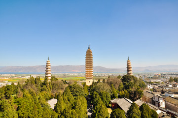 The famous Three Towers in Dali, Chongsheng Temple, Yunnan, China