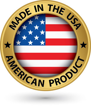 Made in the USA american product gold label with flag, vector il