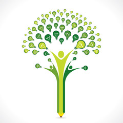 green bulb or idea pencil tree design vector