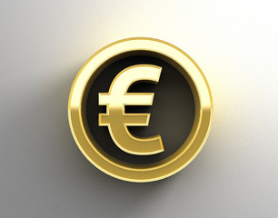 Gold 3D Euro sign on the wall background with soft shadow