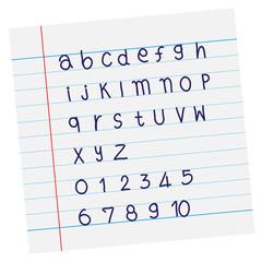 Vector designer sketched alphabet in blue ink on paper