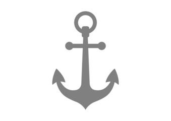 Grey anchor icon on white background