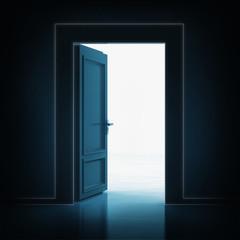open single door in darkness to light room 3D