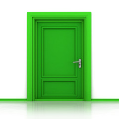 isolated single green closed door closeup 3D