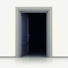 isolated single classic opened door in closeup 3D