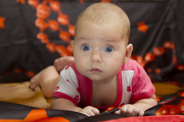 Cute baby crawling over bed