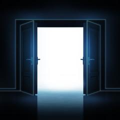 double door opened from dark to light room 3D