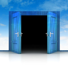 double wooden door opened out of sky background 3D