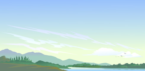 Lake, hills and natures' beauty