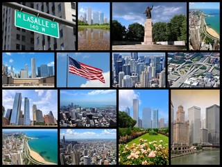 Chicago - travel photo collage set