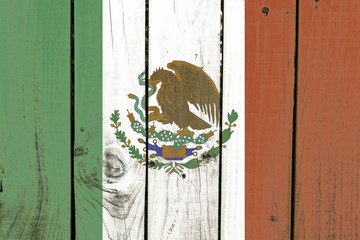 Mexico flag on wooden background