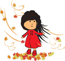 little girl in autumn