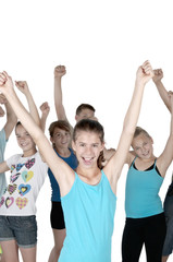 Cheering teens with isolated background