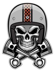 skull and crossed piston