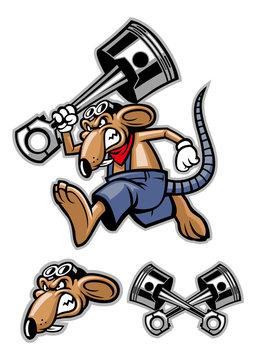 rat mascot holding a big piston