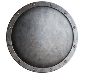 round metal medieval shield isolated