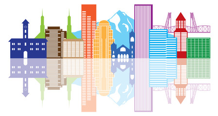 Portland Oregon Skyline Color Vector Illustration