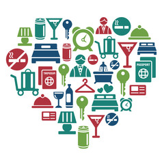 Hotel Icons in Heart Shape