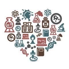 Science and Chemistry Icons in Heart Shape
