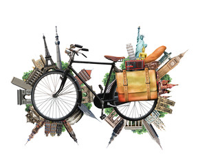 Travel and vacation, Biking and world landmarks