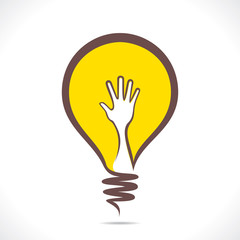 creative design of bulb with hand concept vector
