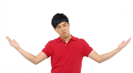 Portrait of young man standing with arms wide open