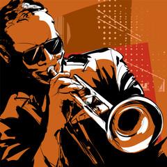 Fototapete - Jazz trumpet player