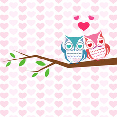 Vector backgrounds with couple of owls on the branch.