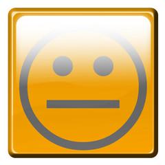 smiley calme sur bouton carré