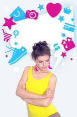 Serious girl in yellow looks down and blank bubble with icons of
