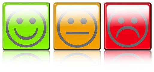 smileys sur boutons carrés avec reflets
