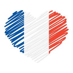 Strichzeichnung Herz - Frankreich