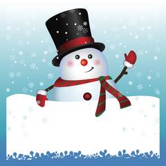 Card, Snowman wearing santa hat and gloves , vector