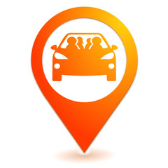 Fototapete - covoiturage sur symbole localisation orange