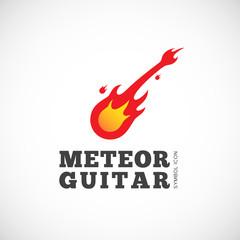 Meteor Guitar Vector Concept Symbol Icon or Logo Template