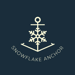 Snowflake Anchor Concept Symbol Icon or Logo Template